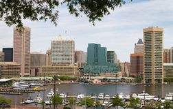 Baltimore City Inner Harbor. Showing the city skyline, ship, and pleasure craft docks and boardwalk Stock Images