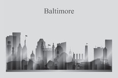 Baltimore city skyline silhouette in grayscale Royalty Free Stock Photo