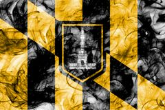 Baltimore city smoke flag, Maryland State, United States Of Amer. Ica Royalty Free Stock Image