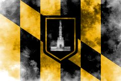 Baltimore city smoke flag, Maryland State, United States Of Amer. Ica Royalty Free Stock Photo