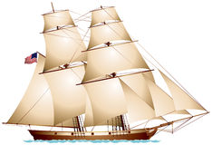 Baltimore Clipper American Flag Sailboat. Realistic vector illustration Stock Photography