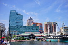Baltimore downtown building. Baltimore inner Harbor scenic area and downtown stock photography