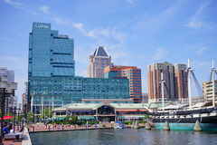 Baltimore downtown building. Baltimore inner Harbor scenic area and downtown royalty free stock images
