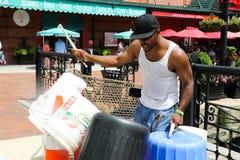 Baltimore. Drummer on the Inner Harbor Stock Photo