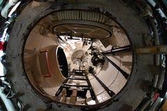 BALTIMORE, EUA - 21 de junho de 2016 - fim submarino do detalhe da opinião da guerra mundial do TORSK ii do interior acima foto de stock