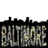 Baltimore grunge with skyline Stock Photos