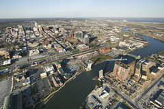 Baltimore Harbor. Aerial view of Baltimore, Maryland with river and drawbridges royalty free stock photos