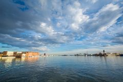 The Baltimore Harbor in Fells Point, Baltimore, Maryland.  royalty free stock photography