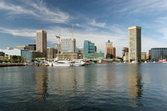 Baltimore Harbor in the summer. With sky royalty free stock photography