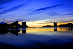 Baltimore Harbor sunrise. Sunrise over Baltimore harbor with silhouetted buildings Royalty Free Stock Photos