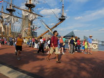 Baltimore Harbor tall ships Stock Photo