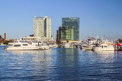 Baltimore Harbor with Yachts and Boats stock photography