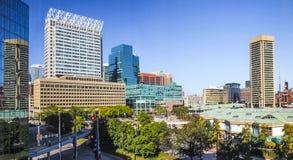 Baltimore i stadens centrum horisontpanorama royaltyfri fotografi