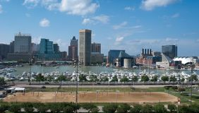 Baltimore Inner Harbor. View of Baltimore, Maryland -  Inner Harbor and sport field from  Federal Hill Royalty Free Stock Photos