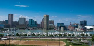 Baltimore Inner Harbor. View of the skyline of Baltimore, Maryland - Inner Harbor and sport field from Federal Hill Stock Photography