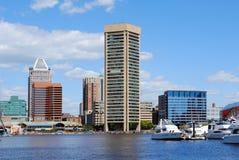 Baltimore Inner Harbor. From Marina stock photo