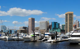Baltimore Inner Harbor. From Marina stock image