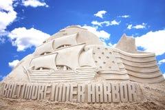 Baltimore Inner Harbor. Sand scultpure celebrating tall ships at Baltimore Inner Harbor in Maryland stock photography