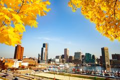 Baltimore Inner Harbor in autumn, Maryland, USA. Panoramic view of Baltimore Inner Harbor in autumn, Maryland, USA royalty free stock photos