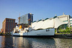 Baltimore inner Harbor boat. Baltimore inner Harbor scenic area and downtown royalty free stock photo