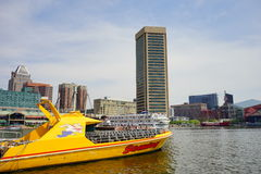Baltimore inner harbor boat. Baltimore inner Harbor scenic area and downtown boat royalty free stock photography