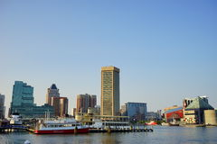Baltimore inner harbor dock. A park in Baltimore inner Harbor scenic area and boat dock royalty free stock photography