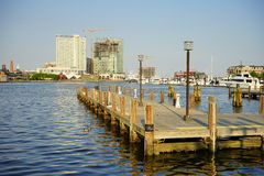 Baltimore inner harbor dock. A park in Baltimore inner Harbor scenic area and boat dock royalty free stock images
