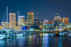 Baltimore Inner Harbor and marina at night, in Baltimore, Maryland.  stock photography