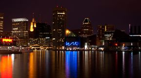 Baltimore Inner Harbor (night). Baltimore, Maryland - Inner Harbor at night Royalty Free Stock Images