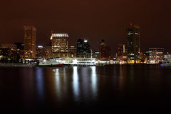 Baltimore Inner Harbor at Night Stock Photography