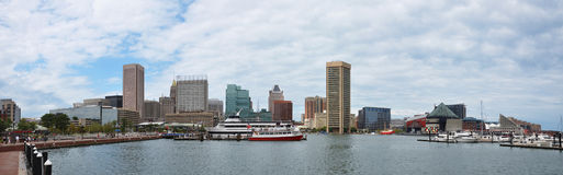 Baltimore Inner Harbor Panorama. Maryland, USA Stock Image