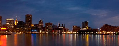 Baltimore Inner Harbor (panoramic). Panoramic view of Baltimore, Maryland -  Inner Harbor at night Stock Images