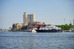 Baltimore inner Harbor ship and restraunt. Baltimore  inner Harbor scenic area and downtown: boat and restraunt Stock Image