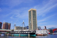 Baltimore inner harbor ship. Baltimore  inner Harbor scenic area and downtown ship Royalty Free Stock Photos