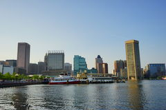 Baltimore inner harbor. Ships in Baltimore inner Harbor scenic area and downtown stock photos