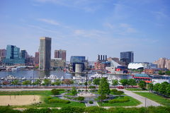 Baltimore inner harbor. Ships in Baltimore inner Harbor scenic area and downtown royalty free stock photography
