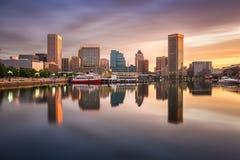 Baltimore Inner Harbor Skyline. Baltimore, Maryland, USA skyline at the Inner Harbor royalty free stock images