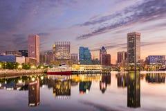 Baltimore Inner Harbor Skyline. Baltimore, Maryland, USA skyline at the Inner Harbor royalty free stock photos