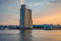 Baltimore Inner Harbor Sunset, in Baltimore, Maryland.  stock photo