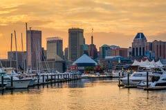 Baltimore Inner Harbor Sunset, in Baltimore, Maryland.  stock images
