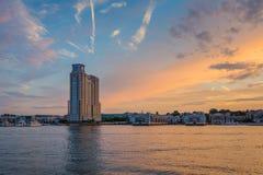 Baltimore Inner Harbor Sunset, in Baltimore, Maryland.  stock image