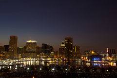 Baltimore, Maryland. Inner Harbor just after sunset Royalty Free Stock Photo