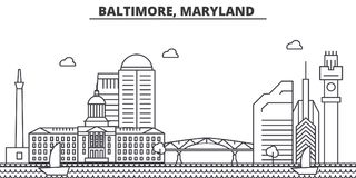 Baltimore, Maryland architecture line skyline illustration. Linear vector cityscape with famous landmarks, city sights Stock Photos