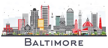 Free Baltimore Maryland City Skyline With Gray Buildings Isolated On Stock Photos - 111045303