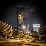 Baltimore maryland city streets and skyline at night. Baltimore maryland city streets and skyline at  night Royalty Free Stock Photos