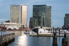 BALTIMORE MARYLAND - FEBRUARI 18: Den inre hamnen i Baltimore, Maryland, USA på Februari 18, 2017 Arkivfoton