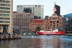 BALTIMORE MARYLAND - FEBRUARI 18: Den inre hamnen i Baltimore, Maryland, USA på Februari 18, 2017 Arkivbilder