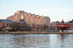 BALTIMORE, MARYLAND - FEBRUARY 18: The Inner Harbor in Baltimore, Maryland, USA on February 18, 2017 royalty free stock photography