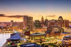 Baltimore Maryland horisont Arkivfoton