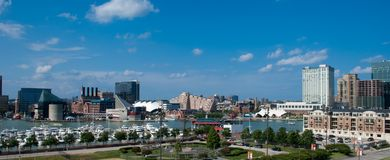Baltimore, Maryland - Inner Harbor. View of Baltimore, Maryland - Inner Harbor and sport field from Federal Hill Stock Photography